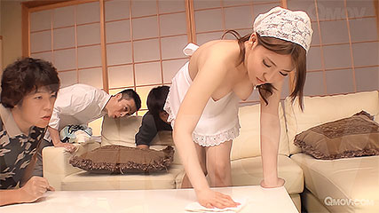 Aya saito the slutty maid fucks 3 cocks in 1 night