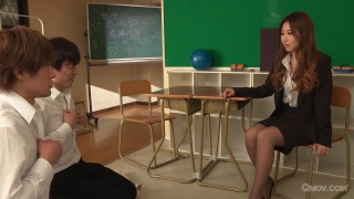 Mai Kamio teaches 2 students all about sex  pic #2