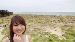 Mayuka Akimoto's tits covered in cum after blowjob by the beach pic #1