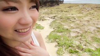 Mayuka Akimoto's tits covered in cum after blowjob by the beach pic #2