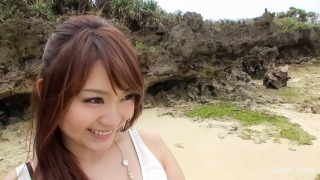 Mayuka Akimoto's tits covered in cum after blowjob by the beach pic #4