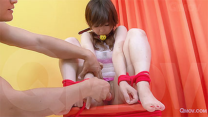 Miku Airi gets pussy rubbed while tied up and gagged