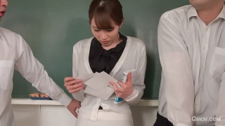 Miku Ohashi the slutty teacher sucks her students' cocks pic #3
