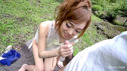 Mikuru Shiina spits out cum after sucking a cock outdoors