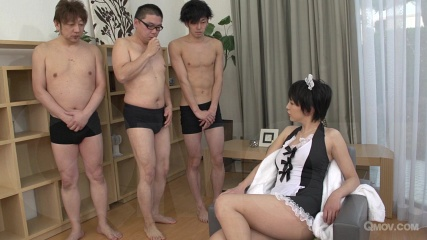 Sakura Aida masturbates and mouth fucks 3 cocks in maid outfit